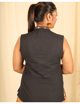 Black cotton short top with embroidered V neck-LB160C-S-2-sm