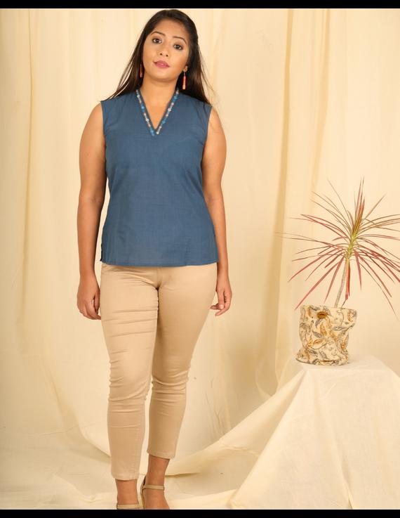 Indigo blue cotton short top with embroidered V neck-LB160D-LB160D-XS