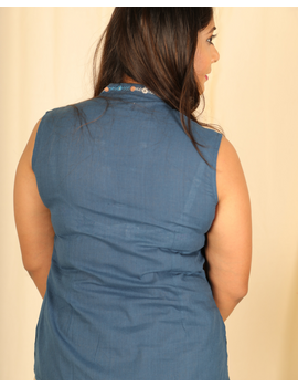 Indigo blue cotton short top with embroidered V neck-LB160D-XS-2-sm