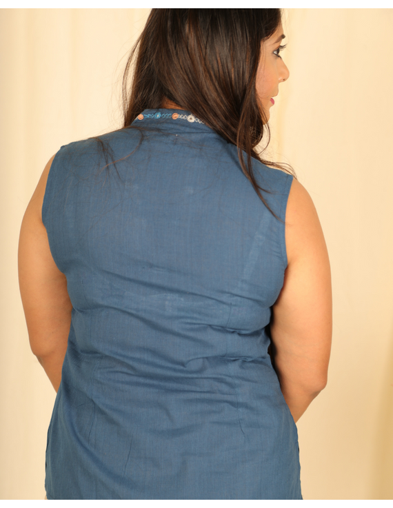 Indigo blue cotton short top with embroidered V neck-LB160D-XS-2