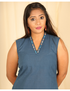Indigo blue cotton short top with embroidered V neck-LB160D-XS-1-sm