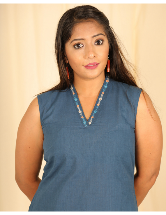 Indigo blue cotton short top with embroidered V neck-LB160D-XS-1