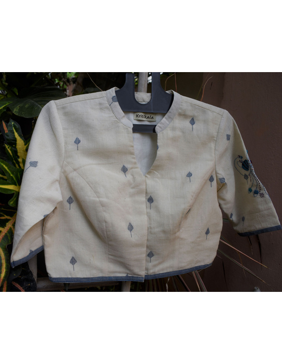 Mandarin collar embroidered blouse in khadi cotton: RB12A-RB12A