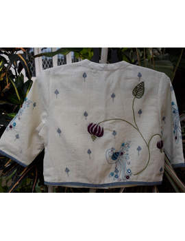 Mandarin collar embroidered blouse in khadi cotton: RB12A-S-1-sm