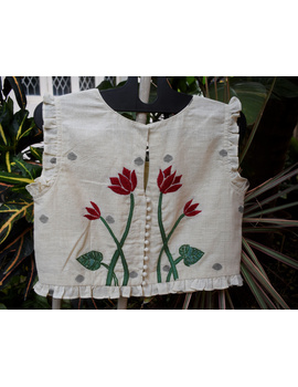 Boat neck crop top embroidered blouse-RB07A-RB07A-XL-sm