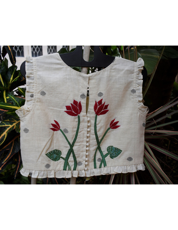 Boat neck crop top embroidered blouse-RB07A-RB07A-XL
