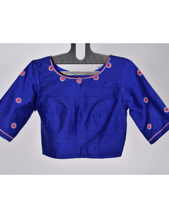 Pure raw silk blouse with all over mirror work-SB01A-SB01A