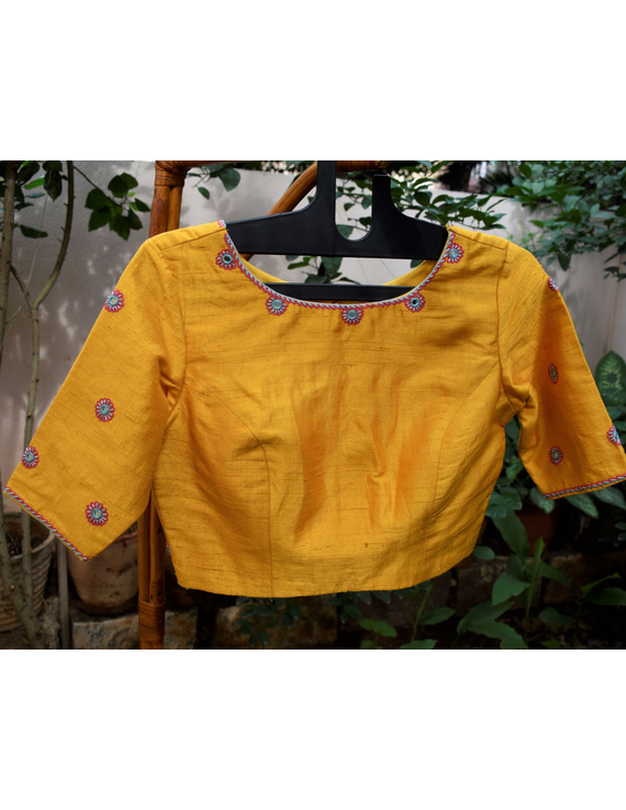 Pure raw silk blouse with all over mirror work-SB01B-SB01B