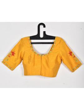 Pure raw silk blouse with lily motifs on sleeves-SB02B-SB02B-sm