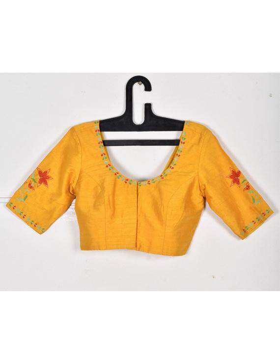 Pure raw silk blouse with lily motifs on sleeves-SB02B-SB02B