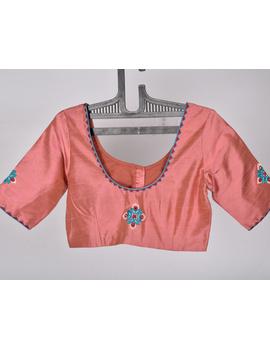 Pure raw silk blouse with banjara motifs on sleeves and back-SB03B-SB03B-L-sm