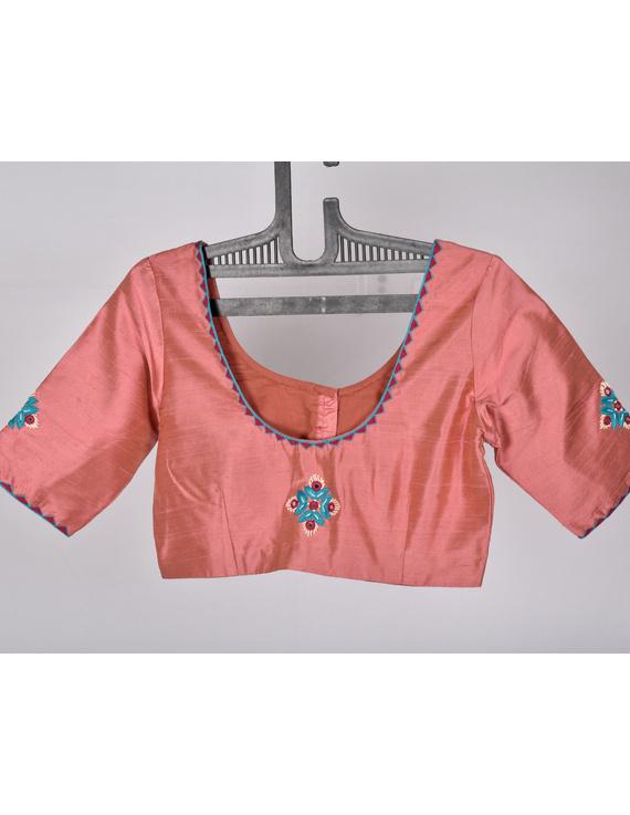 Pure raw silk blouse with banjara motifs on sleeves and back-SB03B-SB03B-L