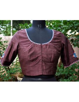 Pure raw silk blouse with banjara motifs on sleeves and back-SB03C-SB03C-sm