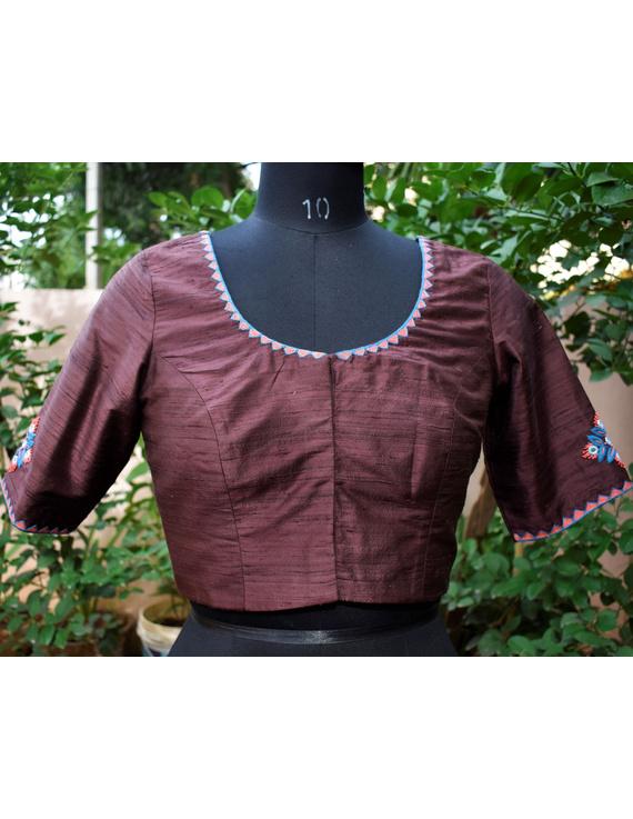 Pure raw silk blouse with banjara motifs on sleeves and back-SB03C-SB03C