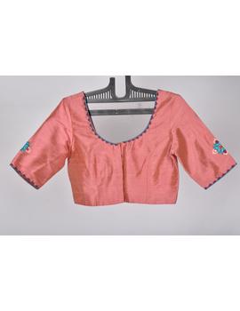 Pure raw silk blouse with banjara motifs on sleeves and back-SB03B-L-1-sm