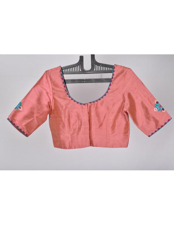 Pure raw silk blouse with banjara motifs on sleeves and back-SB03B-L-1