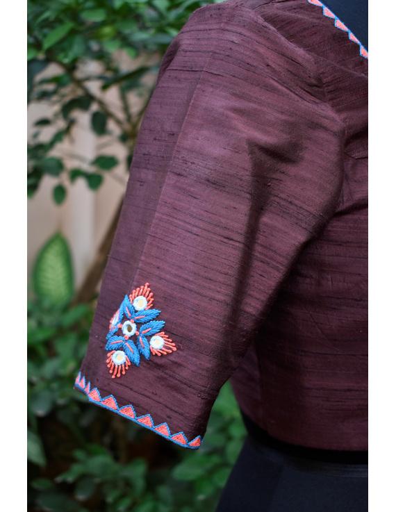 Pure raw silk blouse with banjara motifs on sleeves and back-SB03C-XL-2