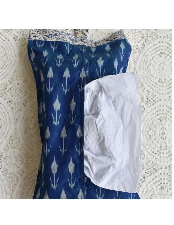 Tissue box cover in blue silk ikat: HTB02-HTB02