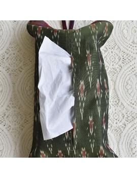 Tissue box cover in green silk ikat: HTB01-HTB01-sm