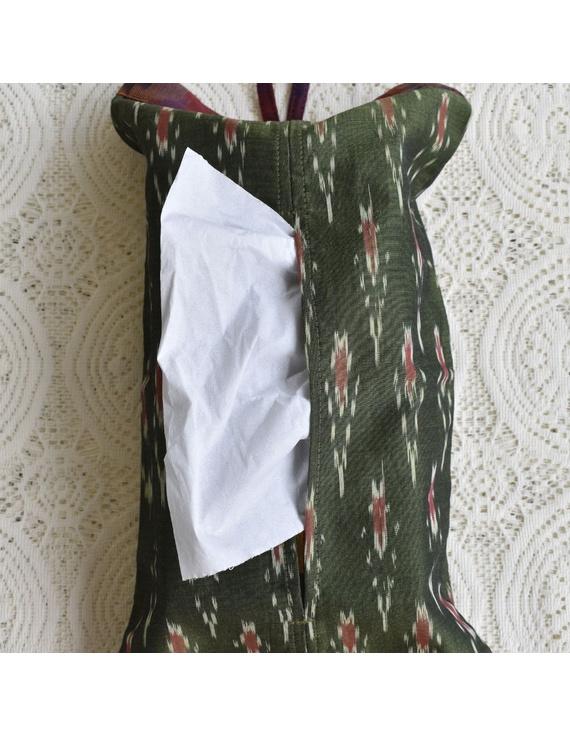 Tissue box cover in green silk ikat: HTB01-HTB01