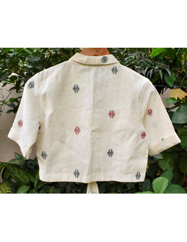 Offwhite saree blouse with collar and front ties-RB12B-XXL-1-sm