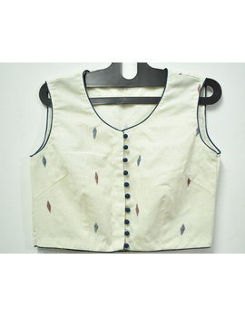 Sleeveless offwhite saree blouse with orange flower motif-RB07D-XXL-1-sm