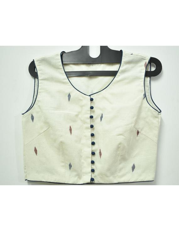 Sleeveless offwhite saree blouse with orange flower motif-RB07D-XXL-1