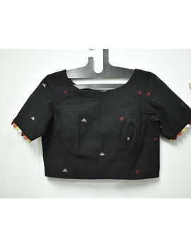Black handloom cotton blouse with ric rac design on back-RB10A-RB10A-M-sm