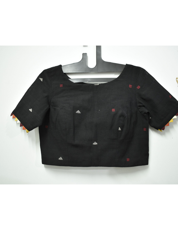 Black handloom cotton blouse with ric rac design on back-RB10A-RB10A-M