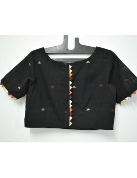 Black handloom cotton blouse with ric rac design on back-RB10A-M-1-sm