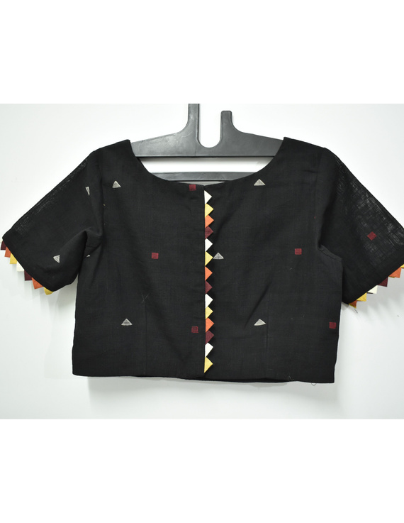 Black handloom cotton blouse with ric rac design on back-RB10A-M-1