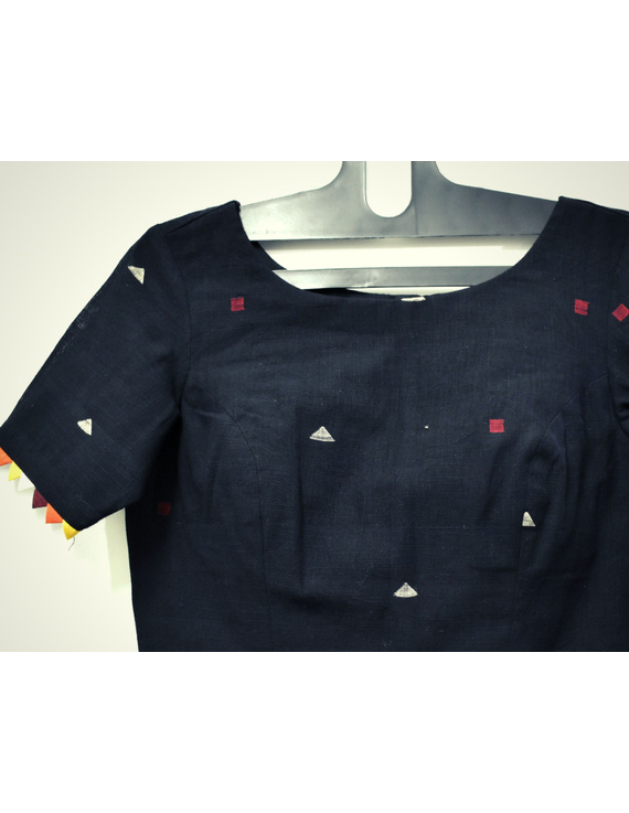 Black handloom cotton blouse with ric rac design on back-RB10A-M-2