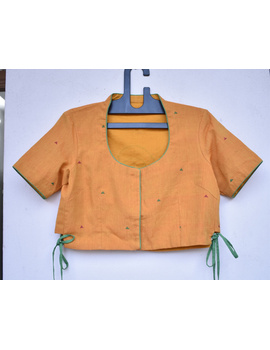 Orange handloom blouse with side ties and embroidery on back-RB10B-RB10B-L-sm