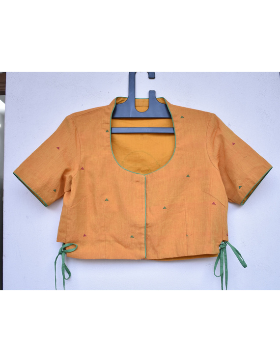 Orange handloom blouse with side ties and embroidery on back-RB10B-RB10B-L