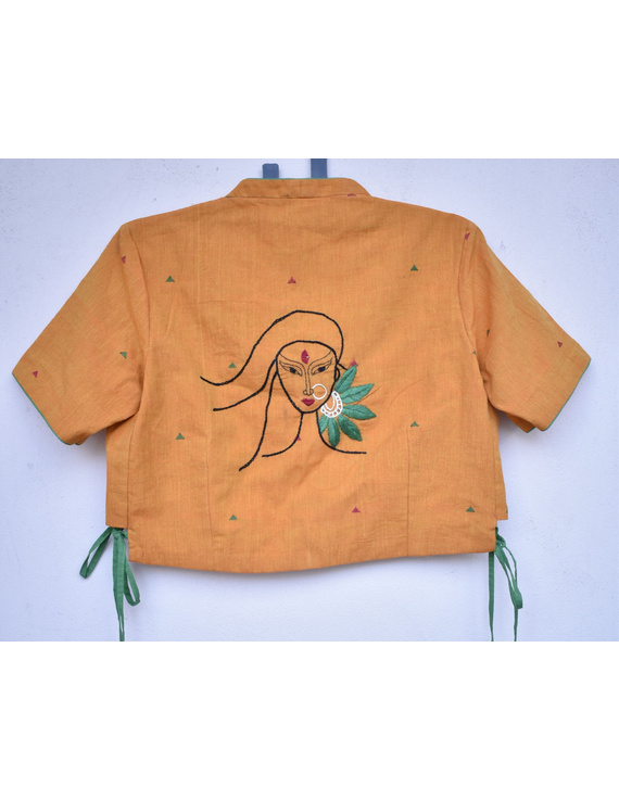Orange handloom blouse with side ties and embroidery on back-RB10B-L-1