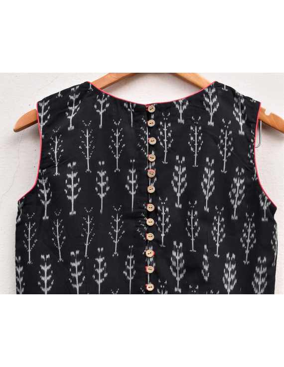 Black ikat blouse with buttons at backRB11B-L-3