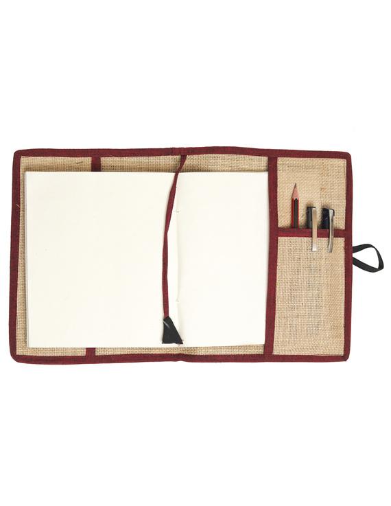 Reusable diary sleeve with diary - maroon : STJ04-Handmade-4
