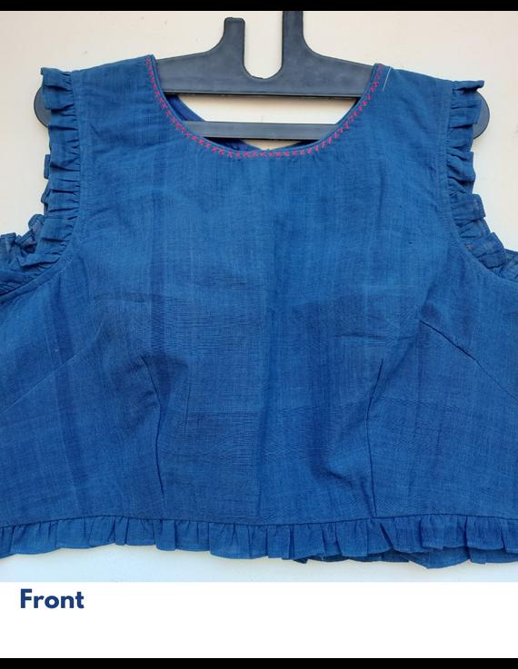 Lotus motif blouse in indigo khadi : RB07E-S-1