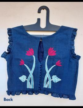 Lotus motif blouse in indigo khadi : RB07E-RB07E-1-sm