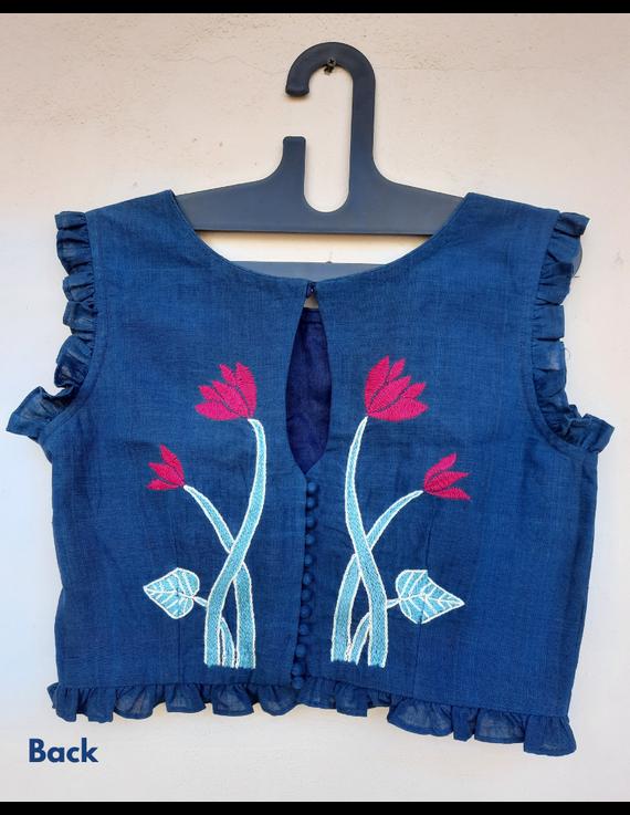 Lotus motif blouse in indigo khadi : RB07E-RB07E-1
