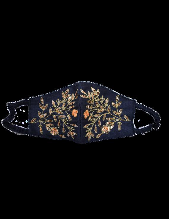 Pure silk mask with zardosi hand embroidery: ZM3-ZM3A
