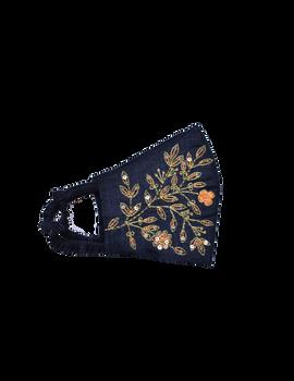 Pure silk mask with zardosi hand embroidery: ZM3-Black-1-sm