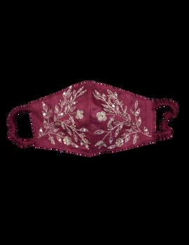 Pure silk mask with zardosi hand embroidery: ZM3-Maroon-1-sm