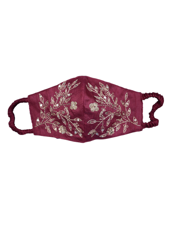 Pure silk mask with zardosi hand embroidery: ZM3-Maroon-1