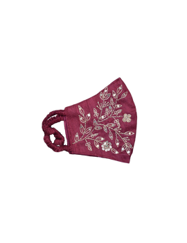 Pure silk mask with zardosi hand embroidery: ZM3-Maroon-2-sm