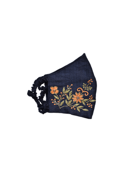 Pure silk mask with zardosi hand embroidery: ZM2-Black-2-sm