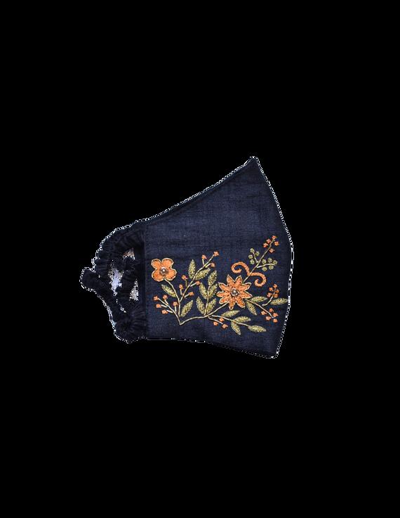 Pure silk mask with zardosi hand embroidery: ZM2-Black-2