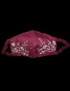Pure silk mask with zardosi hand embroidery: ZM2-ZM2C-sm
