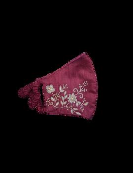 Pure silk mask with zardosi hand embroidery: ZM2-Maroon-1-sm