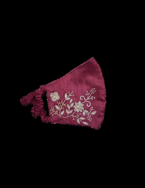 Pure silk mask with zardosi hand embroidery: ZM2-Maroon-1